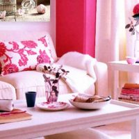 gaiši rozā krāsas kombinācija virtuves dekorā ar citām fotoattēla krāsām