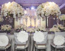décoration lumineuse de la salle de mariage avec photo de fleurs