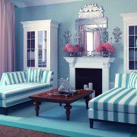 oriģināls viesistabas dekors zilā fotoattēlā