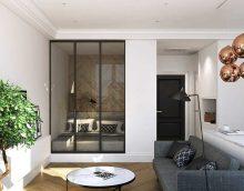 gaišs guļamistabas un viesistabas dekors vienā istabā foto