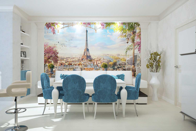 skaists viesistabas dizains zilā krāsā