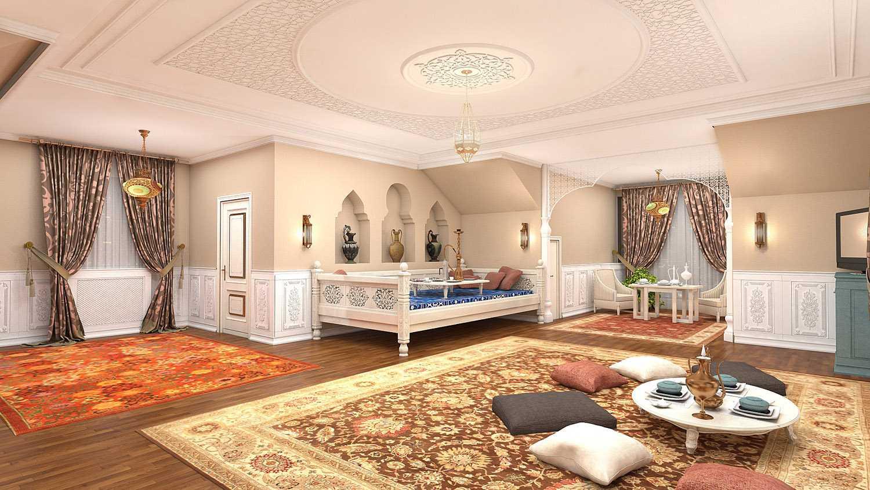 gaiša dzīvokļa fasāde austrumu stilā