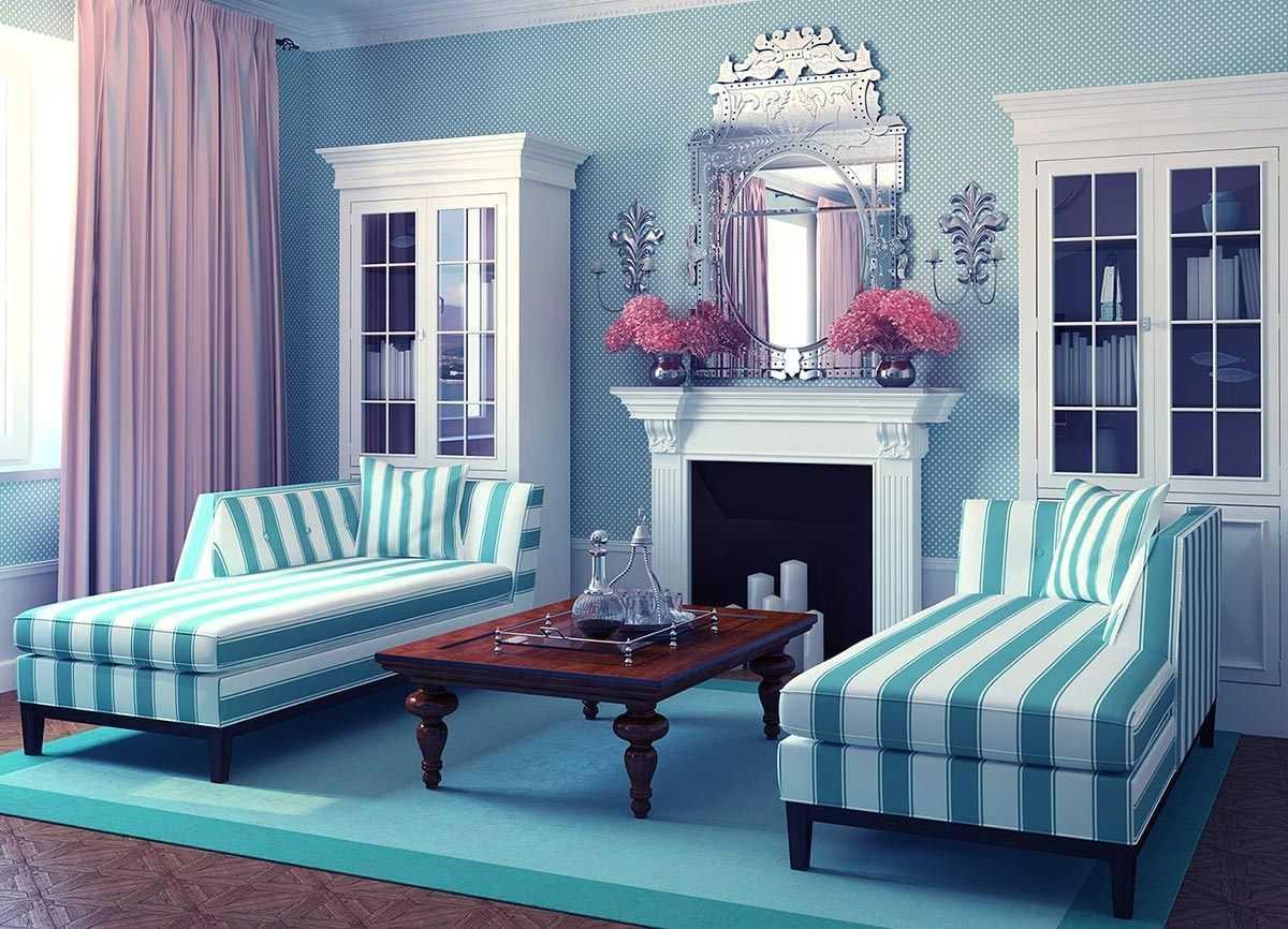 skaists istabas stils zilā krāsā