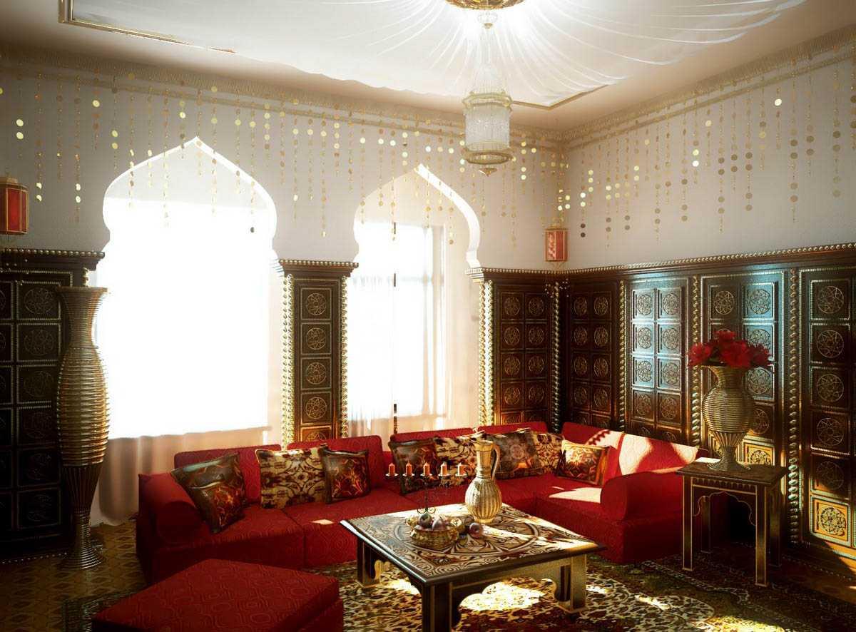 skaists viesistabas interjers austrumu stilā