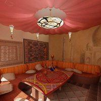 moderna dizaina istaba austrumu stila attēlā