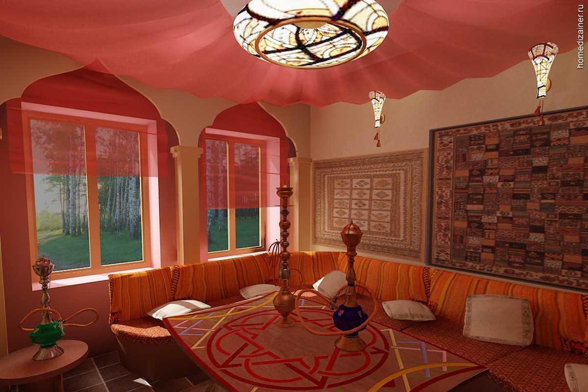 gaišs istabas dizains austrumu stilā