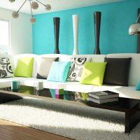 skaists guļamistabas stils foto zilā krāsā