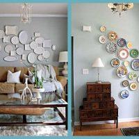 l'idée d'un bel appartement intérieur avec des assiettes décoratives sur le mur photo