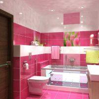 skaistā vannas istabas interjera versija dzīvokļa fotoattēlā