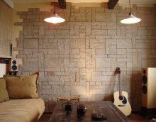 neparasta dekoratīvā akmens versija dzīvokļa attēla stilā