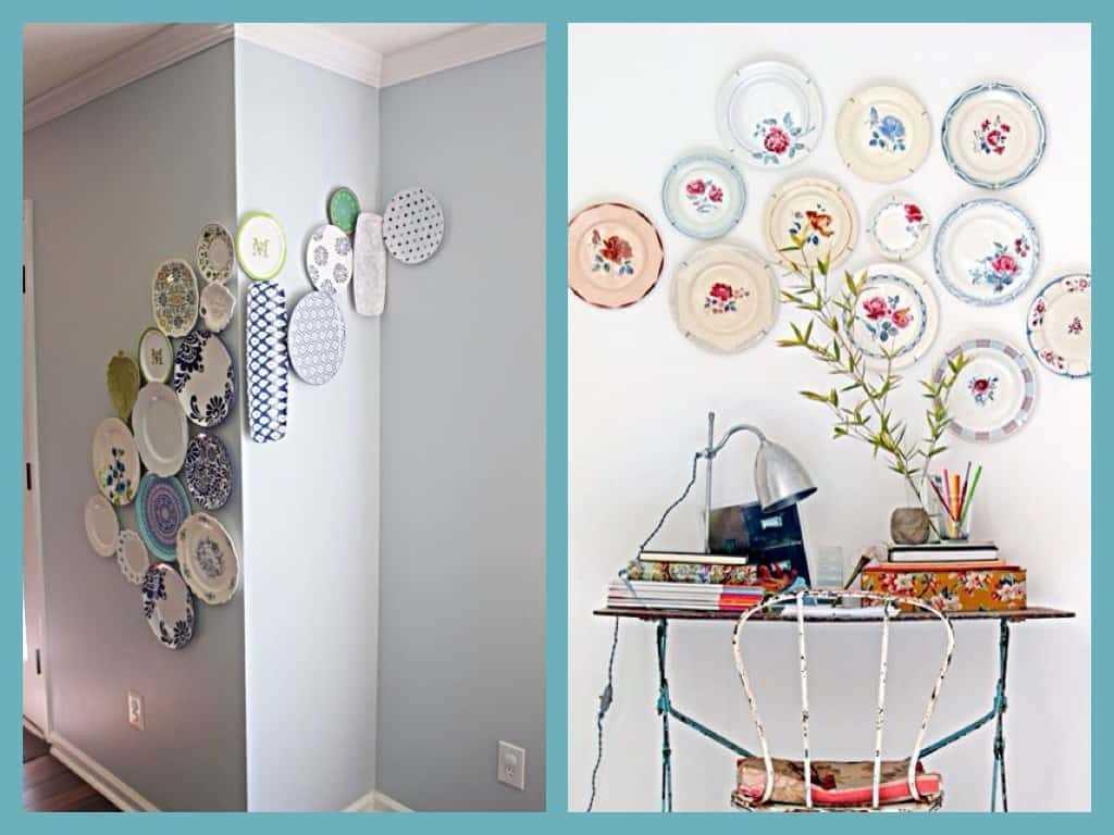 version de l'intérieur de la chambre moderne avec des assiettes décoratives au mur