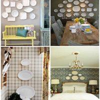 variante d'une belle décoration de chambre avec des assiettes décoratives sur le mur photo