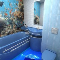 vannas istabas spilgtā dizaina versija dzīvokļa fotoattēlā