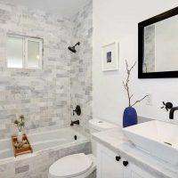 neparastas vannas istabas dizaina versija dzīvokļa fotoattēlā