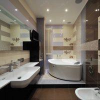 ideja par vannas istabas oriģinālo dizainu dzīvokļa fotoattēlā