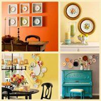 version de l'intérieur d'origine de l'appartement avec assiettes décoratives sur le mur photo