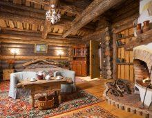 ideja par modernu viesistabas interjeru zemnieciskā stila fotoattēlā