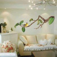 oriģinālās sienas dekorācijas versija fotoattēla telpās