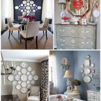 l'idée d'une décoration de chambre moderne avec des assiettes décoratives sur le mur photo