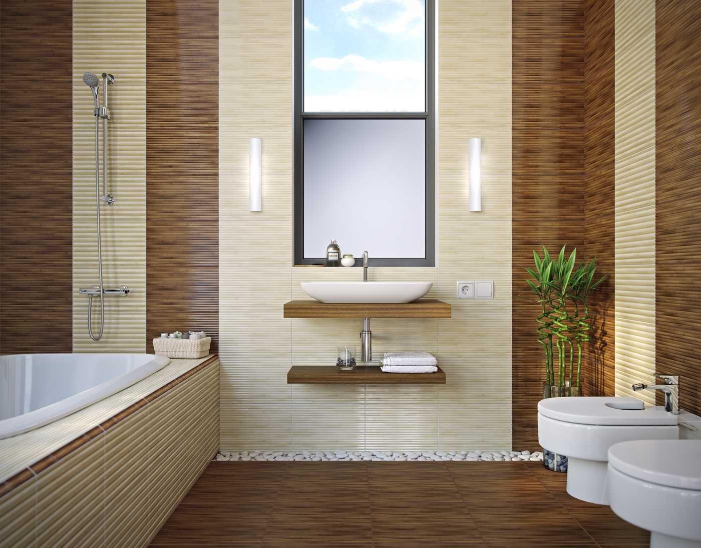 oriģinālā vannas istabas interjera variants