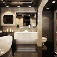 vannas istabas oriģinālā dizaina versija dzīvokļa fotoattēlā