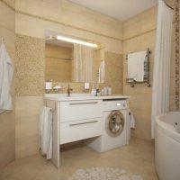 neparastā vannas istabas stila versija dzīvokļa fotoattēlā