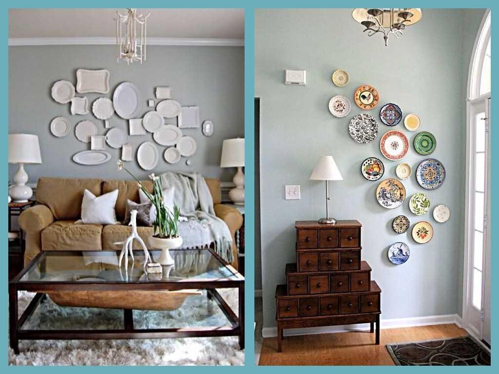 l'idée d'une pièce lumineuse avec des assiettes décoratives accrochées au mur