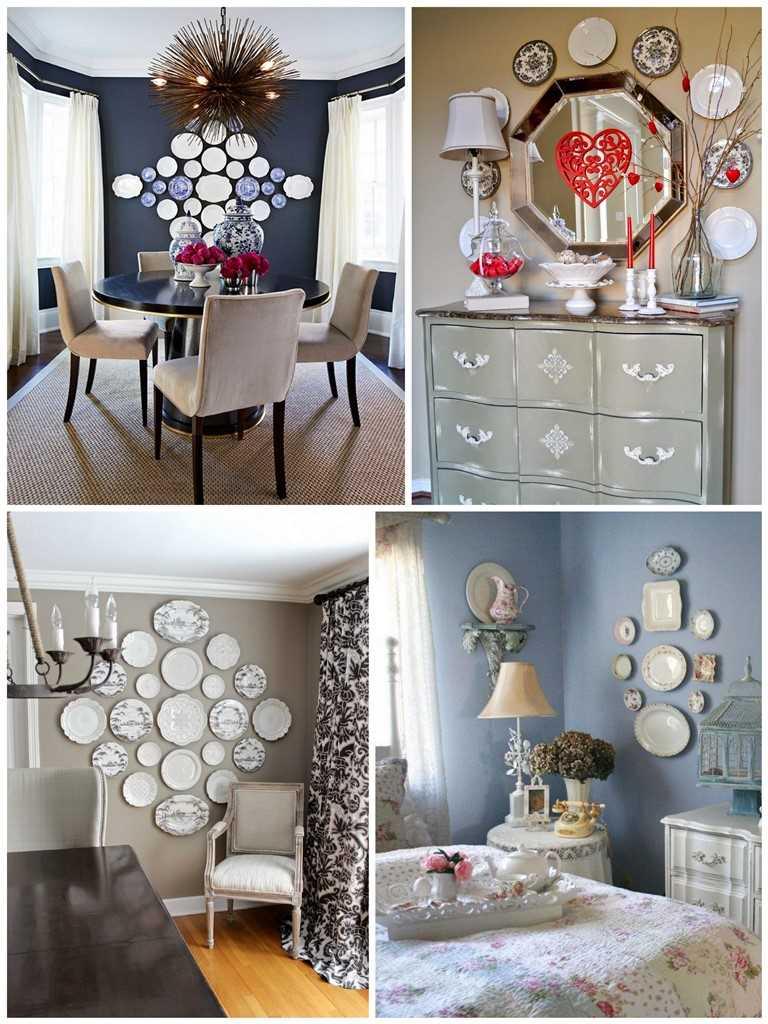 version du style moderne du salon avec des assiettes décoratives au mur