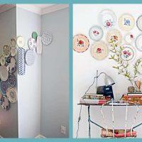 variante de l'intérieur inhabituel de la salle avec des assiettes décoratives sur le mur photo