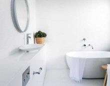 ideja par balta vannas istabas foto skaistu dizainu