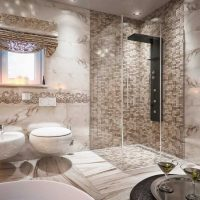 ideja par neparastu vannas istabas dizainu dzīvokļa fotoattēlā
