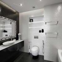 ideja par skaistu vannas istabas dizainu dzīvokļa fotoattēlā