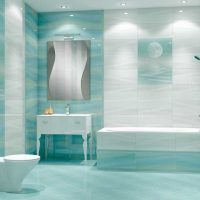 ideja par skaistu vannas istabas interjeru 6 kv.m attēlā
