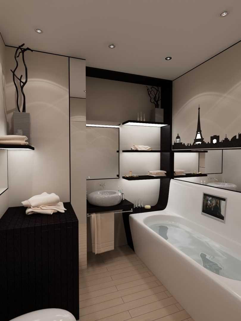 ideja par skaista stila vannas istabu 6 kv.m.
