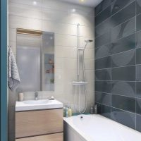ideja par neparastu vannas istabas interjeru 6 kv.m attēlā