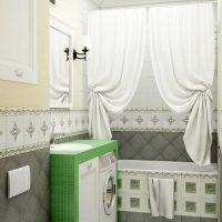 modernās vannas istabas dizaina versija 6 kv.m attēlā