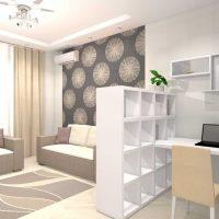 Moderna dzīvokļa gaiša interjera piemērs ar fotoattēlu 65 kv.m.