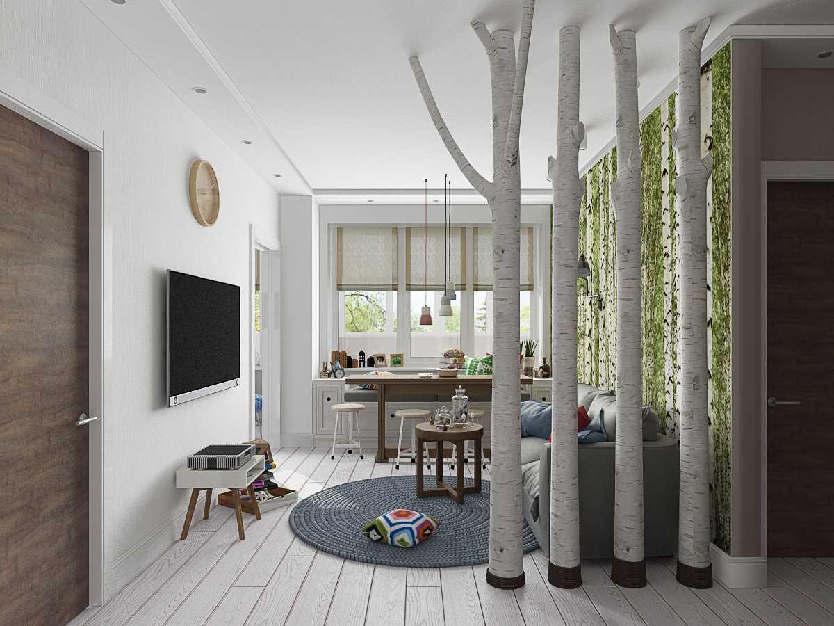 dzīvokļa gaišā interjera variants ir 65 kv.m.