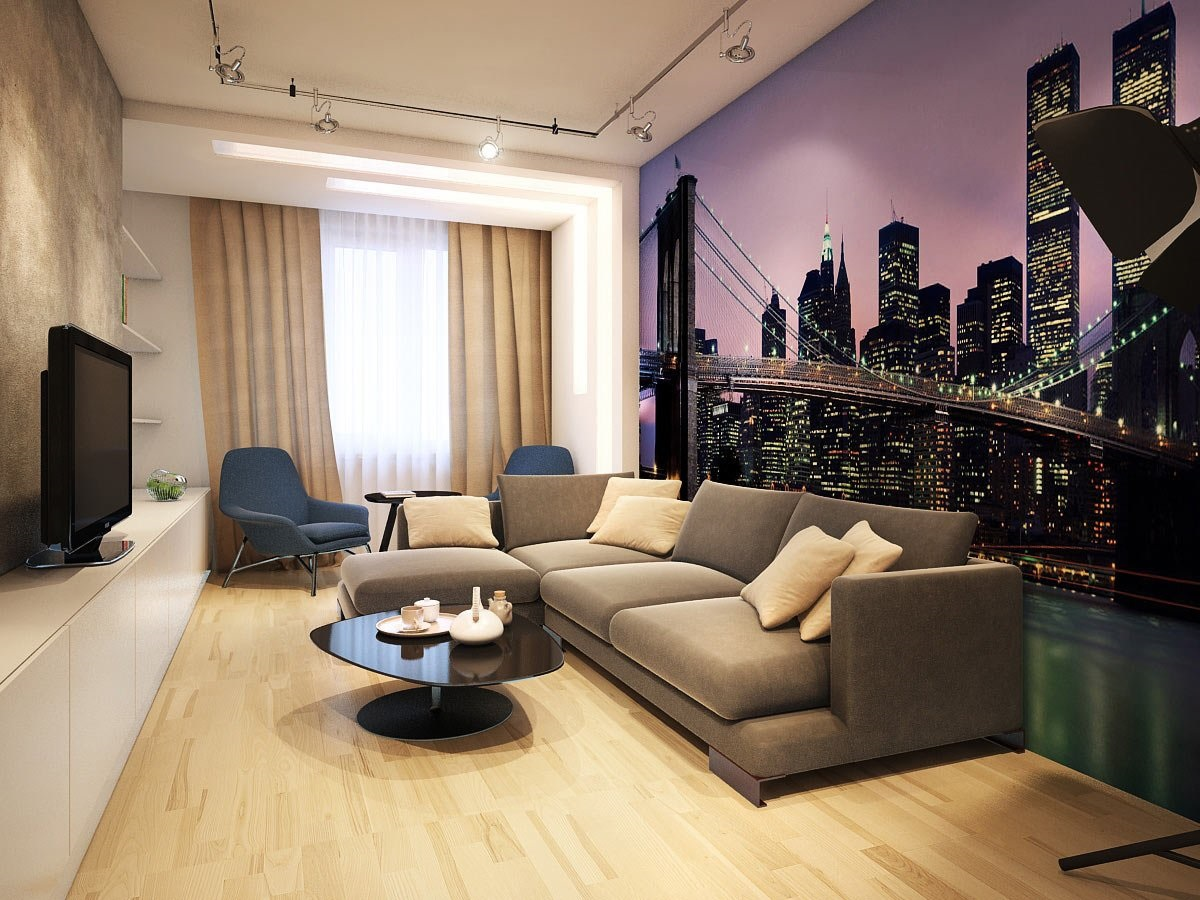 Dzīvojamās istabas skaista dizaina piemērs 16 kv.m.