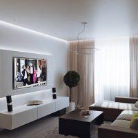 neparastas viesistabas dizaina piemērs 16 kvadrātmetru attēlā