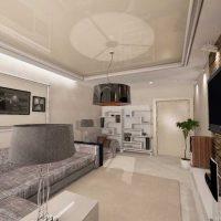 Mūsdienu dzīvokļa neparasta dizaina piemērs 65 kv.m.