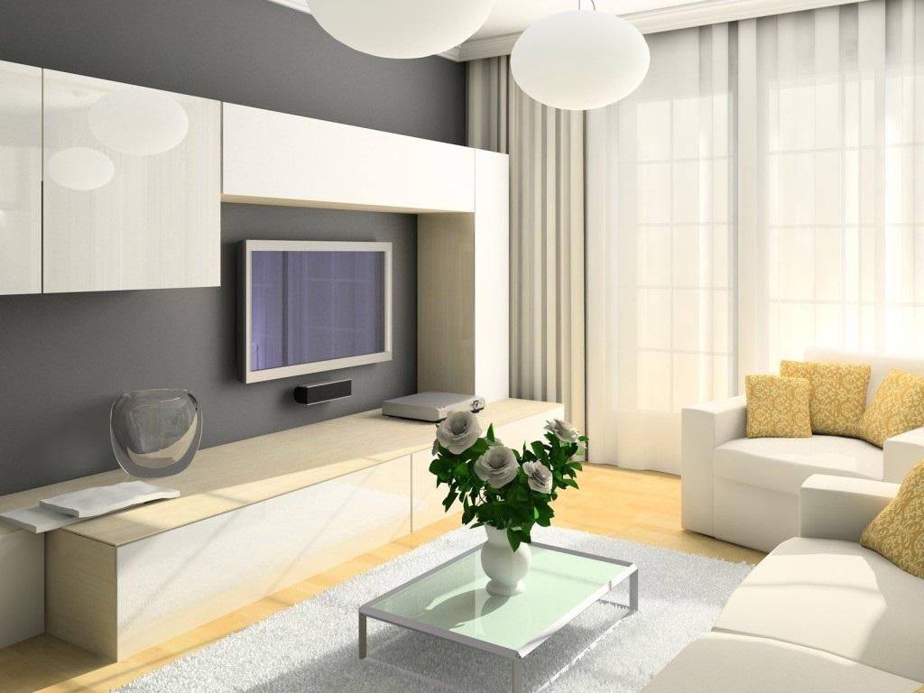 Dzīvojamās istabas gaišā interjera piemērs 16 kv.m.
