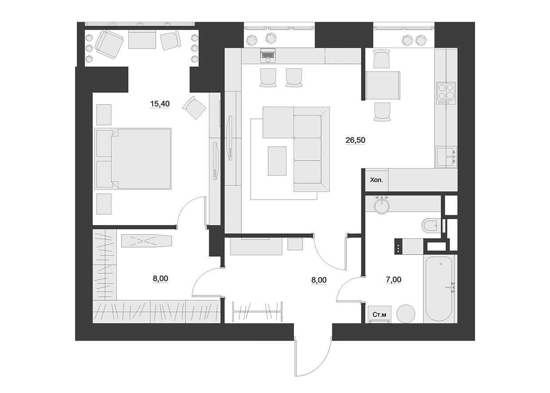moderna dzīvokļa skaista dekora versija 65 kv.m platībā