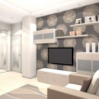 moderna dzīvokļa skaista interjera piemērs 65 kv.m attēlā