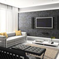 Dzīvojamās istabas gaišā interjera piemērs ar fotoattēlu 16 kv.m.