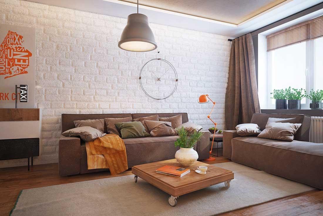 Dzīvojamās istabas gaišā dizaina piemērs 16 kv.m.