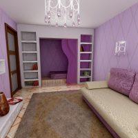 spilgta viesistabas dizaina iespēja 16 kvadrātmetru attēlā