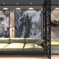 neparastas viesistabas interjera variants 16 kv.m attēlā