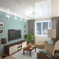 neparastā viesistabas stila attēla versija 16 kvadrātmetru platībā