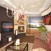Dzīvojamās istabas skaista dizaina piemērs 16 kvadrātmetru attēlā